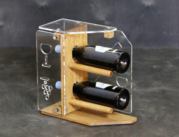 Portabottiglie verticale STAR in metacrilato MT trasparente 6 mm, base e fronte in rovere chiaro