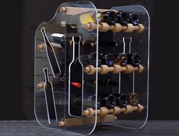 Portabottiglie GIOVE da 20 bottiglie con lati in metacrilato trasparente da 8 mm e fronte in HP nero