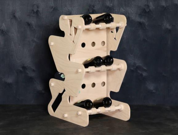 Portabottiglie MARTE in legno di faggio multistrati da 12 mm con finitura a olio