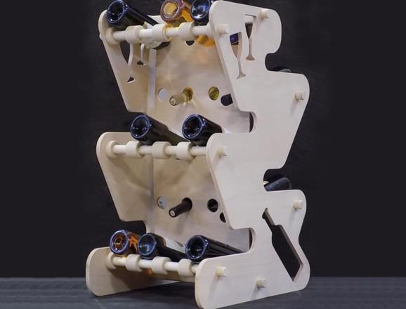 Portabottiglie MARTE in legno di faggio multistrati finitura al naturale