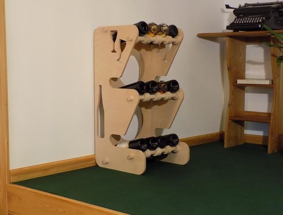 Portabottiglie MERCURIO in legno di faggio multistrati LM da 12 mm con finitura a olio