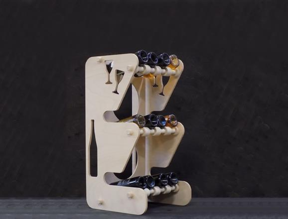 Portabottiglie MERCURIO in legno di faggio multistrati finitura naturale