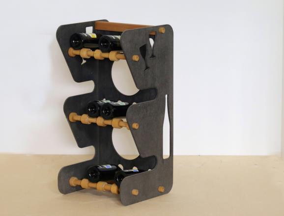Portabottiglie MERCURIO con lati e fronte in MDF colorato in pasta 12 colori - 8 mm