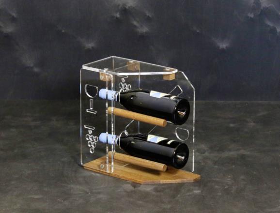 Portabottiglie verticale STAR in metacrilato MT trasparente 6 mm, base in rovere chiaro da 10 mm