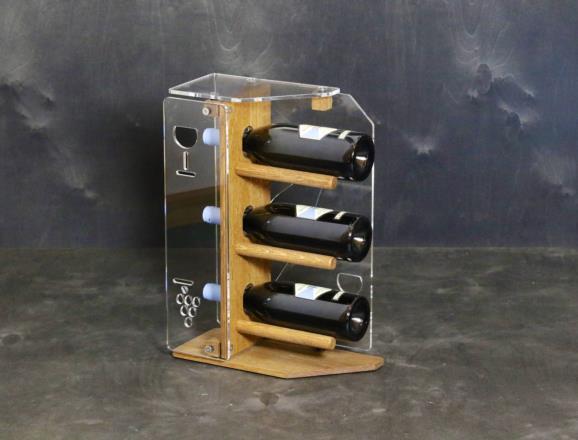 Portabottiglie verticale STAR in metacrilato MT trasparente, base e fronte in rovere chiaro