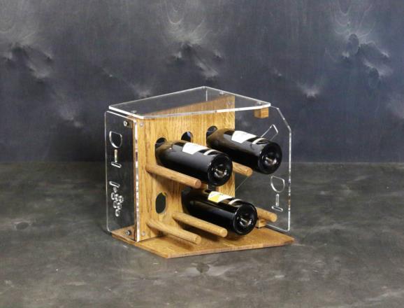 Portabottiglie STAR in metacrilato MT trasparente 6 mm, base e fronte in rovere chiaro da 10 mm