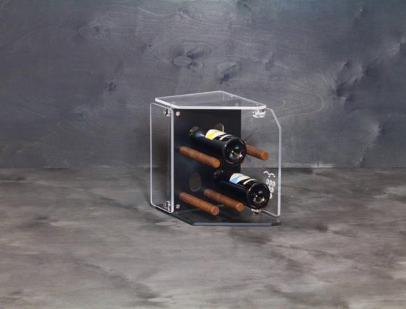 Portabottiglie verticale STAR 04 in HPL nero 6 mm, top e lati in metacrilato MT trasparente