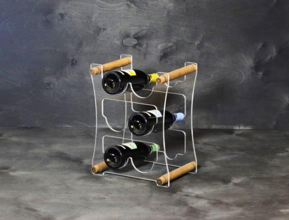 Portabottiglie VEGA da 6 bottiglie in metacrilato trasparente