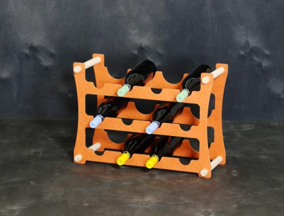 Portabottiglie VEGA da 12 bottiglie in MDF colorato in pasta 12 colori - 8 mm