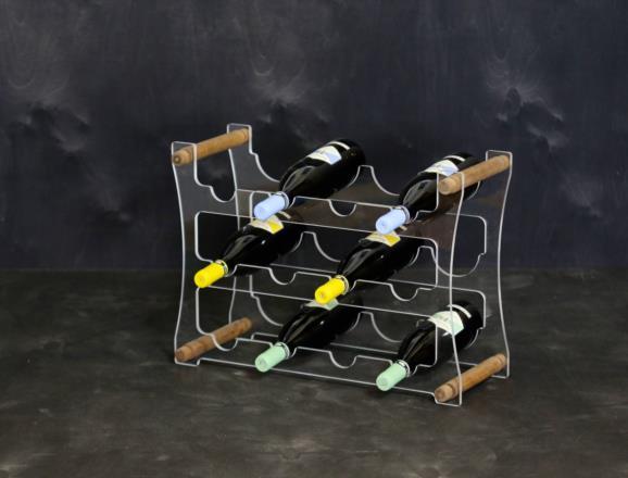 Portabottiglie VEGA da 12 bottiglie in metacrilato trasparente - 6 mm