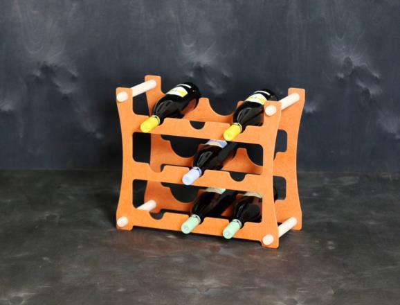 Portabottiglie VEGA da 9 bottiglie in MDF colorato in pasta 12 colori - 8 mm