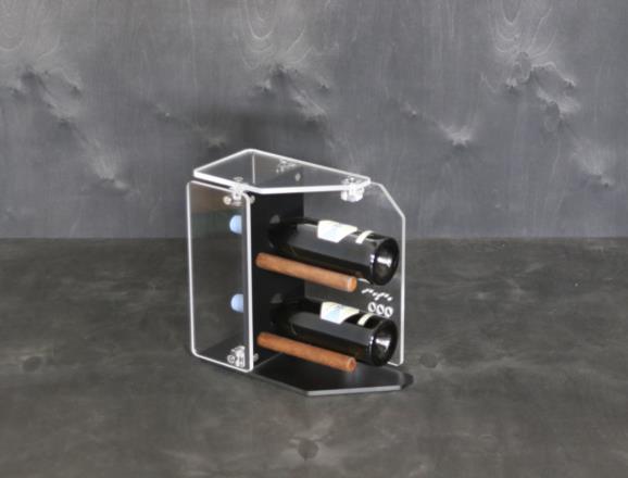 Portabottiglie verticale STAR in HPL nero, top e lati in metacrilato MT trasparente
